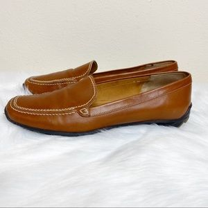 Sesto Meucci Brown Leather Slip On Loafers Size 7